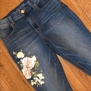 Maurices floral print jeans high rise 3/4